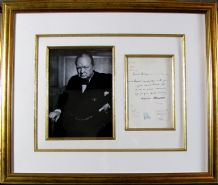Winston Churchill Autograph Signed Telegram Display